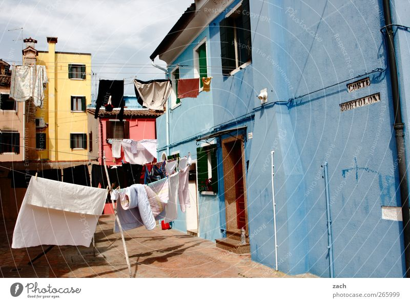 Blue House (Residential Structure) Window Facade Living or residing Clothing T-shirt Clean Italy Village Bedclothes Shirt Pants Washing Laundry Clothesline