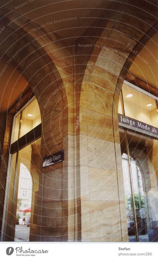 Architecture Dresden Historic Column Alley Arch Shop window Sandstone
