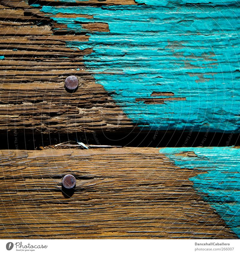 CA l old wood Wood Old Simple Uniqueness Broken Brown Colour Symmetry Decline Transience Turquoise Flake off Graphic Diagonal Line Wooden floor Nail