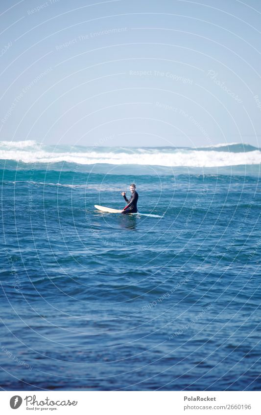#AS# Sitting Blue Art Esthetic Contentment Surfing Surfer Surfboard Surf school Blue sky Ocean Waves Swell Man Masculine Colour photo Multicoloured