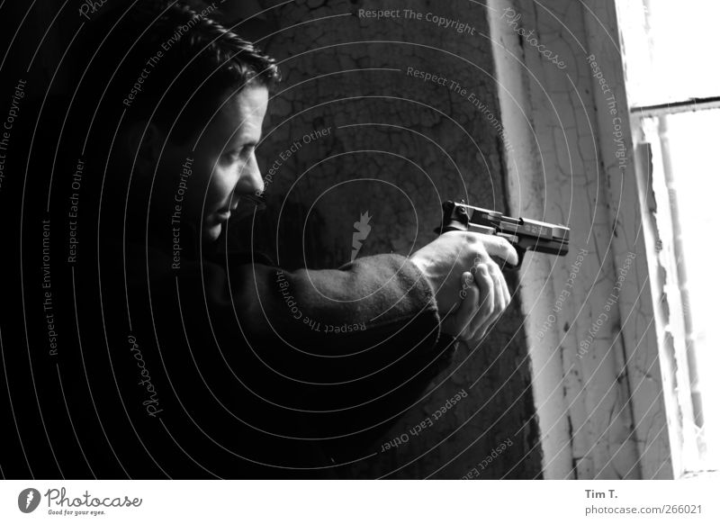 crime scene Profession Workplace Human being Masculine Man Adults Face Hand 1 30 - 45 years Sphere Fear Safety P88 Handgun Firearm 110 Black & white photo