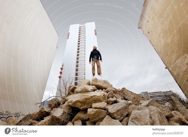 basejump Human being Masculine Man Adults Body 1 High-rise Jump Athletic Building rubble Construction site Berlin Prefab construction Wall (building)