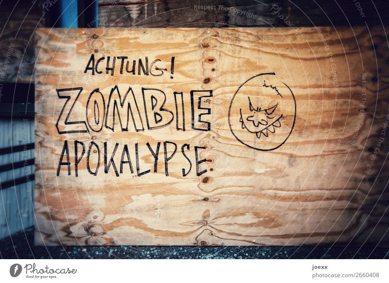 Wood Graffiti Characters Signs and labeling Signage Warning label Aggression Warning sign Apocalypse Zombie