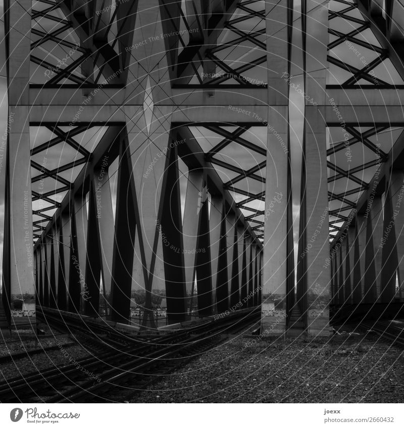 Rear eye Bridge Steel Sharp-edged Large Gray Black White Art Black & white photo Exterior shot Abstract Pattern Deserted Day Contrast