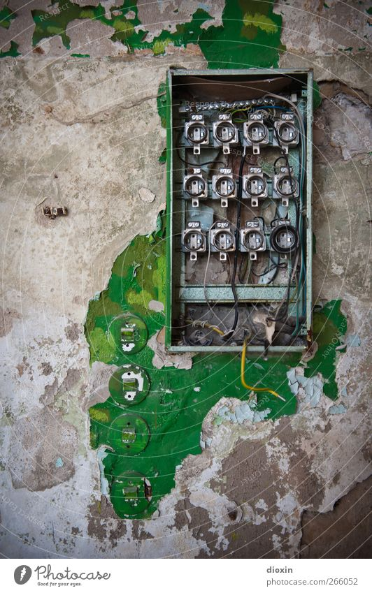 Old Colour Wall (building) Wall (barrier) Metal Dirty Energy industry Electricity Broken Cable Technology Transience Plastic Past Decline