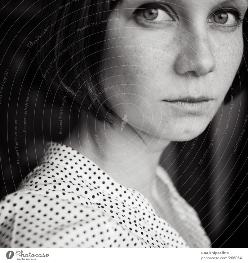 Still Water Beautiful Face Feminine Young woman Youth (Young adults) Woman Adults 1 Human being 18 - 30 years Hair and hairstyles Freckles Black & white photo