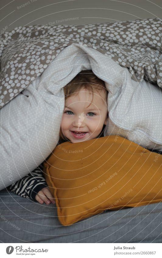 girls pillow blanket nonsense House (Residential Structure) Bed Bedroom Feminine Toddler Girl Head 1 Human being Brunette Blonde Bangs Laughter Lie Looking