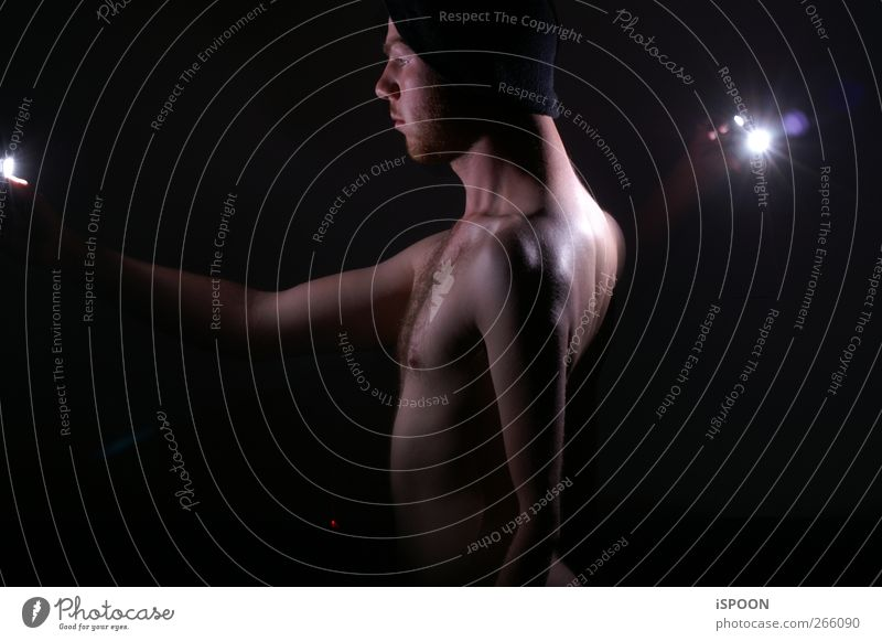 illuminated Human being Masculine Man Adults Body Skin Head Face Chest Arm 1 18 - 30 years Youth (Young adults) Cap Illuminate Stand Exceptional Naked