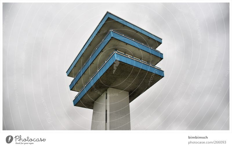 towowower Clouds Deserted Tower Manmade structures Building Lookout tower Facade Lankenau Hoeft Sharp-edged Blue Gray Colour photo Exterior shot Copy Space left