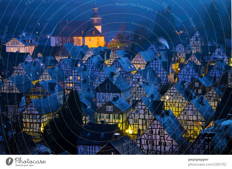 journey through time House (Residential Structure) Village Roof Tourist Attraction Historic Blue Yellow Exterior shot Deserted Evening Twilight Light Silhouette