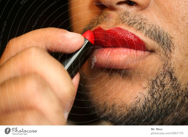 coming out Personal hygiene Make-up Lipstick Night life Masculine Mouth Facial hair 1 Human being Exceptional Designer stubble Red Eroticism Transvestite