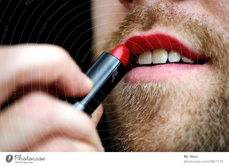 coming out Personal hygiene Cosmetics Make-up Lipstick Masculine Mouth Teeth 1 Human being Facial hair Designer stubble Beard Red Exceptional Homosexual
