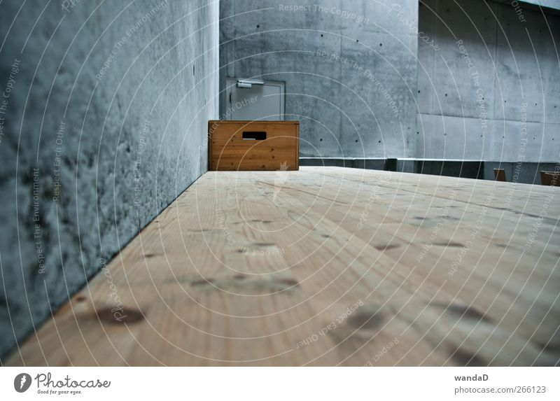 Blue Black Wall (building) Wall (barrier) Wood Gray Brown Room Door Gloomy Perspective Concrete Esthetic Sharp-edged Crate Wooden floor