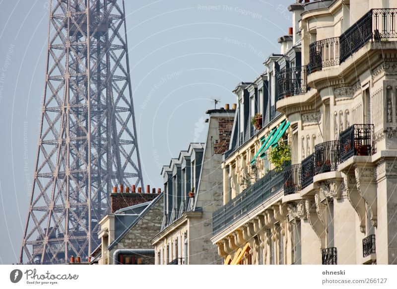 prospects Paris Manmade structures Building Architecture Facade Balcony Window Tourist Attraction Landmark Eiffel Tower Colour photo Exterior shot Day Sunlight