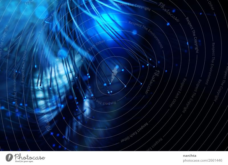 An amazing and vibrant macro of blue fiber optical Design Beautiful Calm New Year's Eve Technology Advancement Future Energy industry Flower Plastic Dark Simple