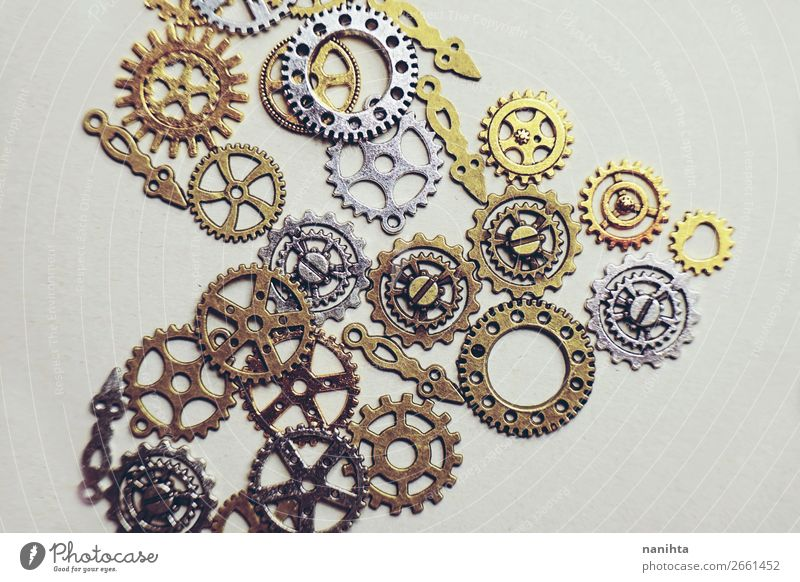 A steampunk and ancient flat macro Design Beautiful Metal Ornament Heart Old Esthetic Simple Historic Small Retro Brown Gold Silver Creativity Puzzle Past gears