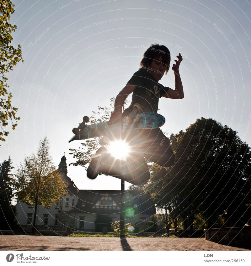 Jump in the sun Inline skating Skateboard Trick jump Skateboarding Human being Masculine Young man Youth (Young adults) 1 Sunlight Movement Sports Athletic Joy