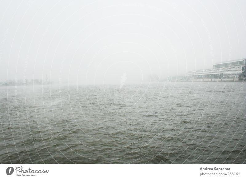 hamburg port Water Horizon Bad weather Wind Fog Rain Waves Ocean Hamburg Hamburg Harbour Infinity Creepy Sadness Longing Homesickness Wanderlust Loneliness