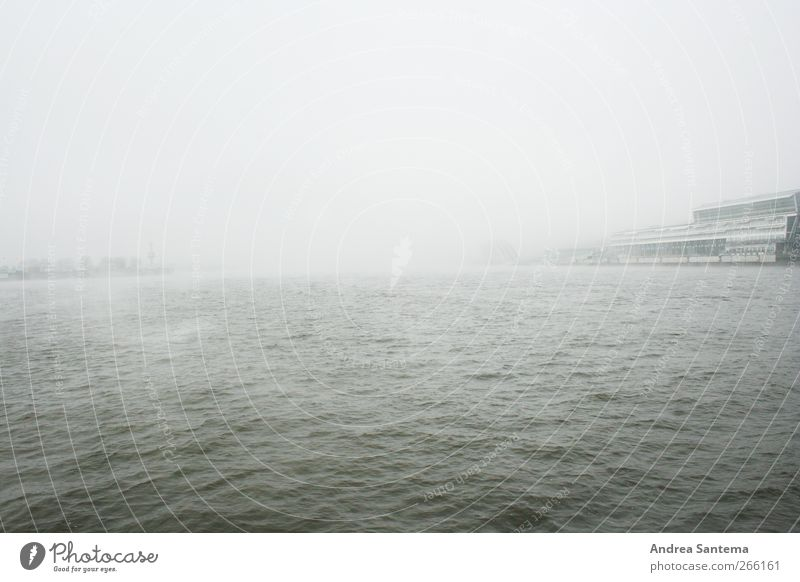 Water Ocean Loneliness Far-off places Gray Sadness Horizon Rain Waves Wind Fog Hamburg Infinity Longing Creepy Wanderlust