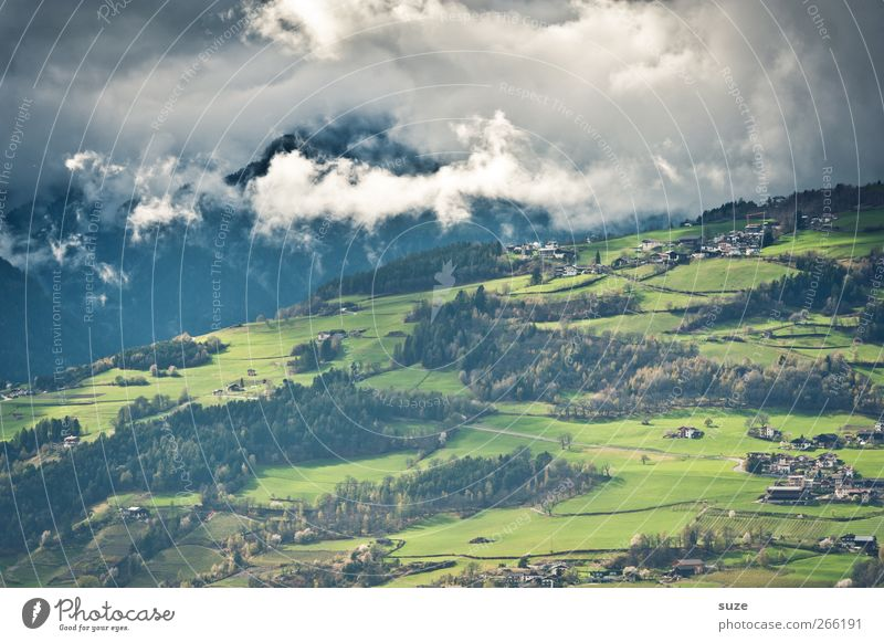 Looking into the valley Summer Mountain Environment Nature Landscape Elements Sky Clouds Climate Beautiful weather Tree Meadow Forest Alps Exceptional Green