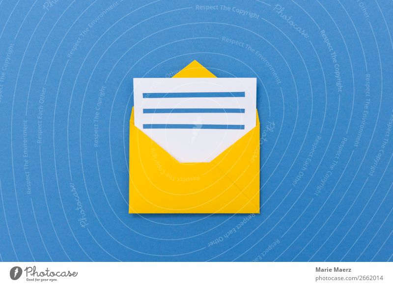 Open envelope with letter Economy Business To talk Stationery Paper Letter (Mail) Envelope (Mail) Reading Write Simple New Blue Yellow Curiosity Interest