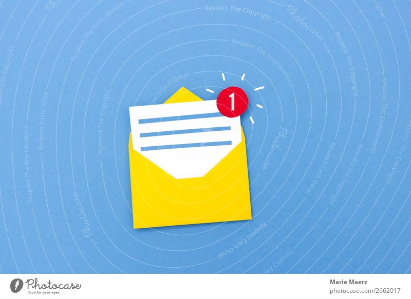 New message - e-mail icon with notification icon Workplace Media industry Advertising Industry Business To talk Internet Reading Write Esthetic Brash