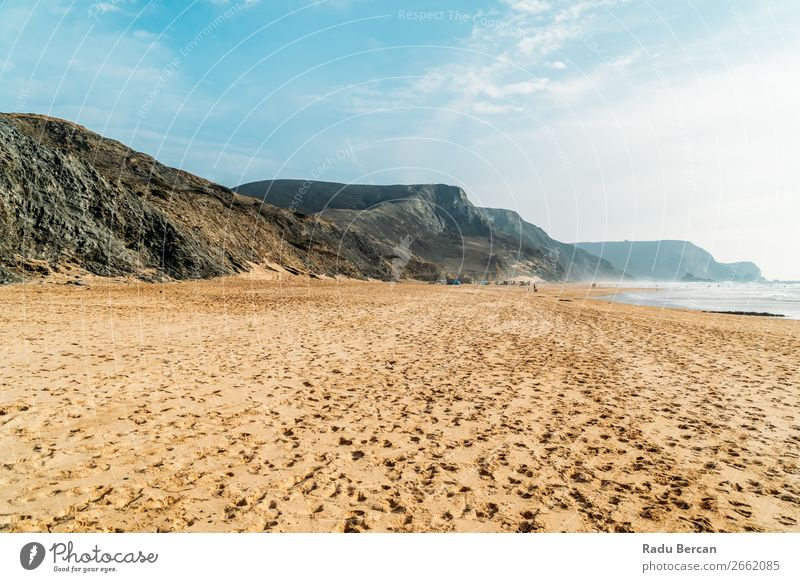 Summer Ocean Beach And Mountains Landscape In Portugal Sky Coast Nature Vacation & Travel