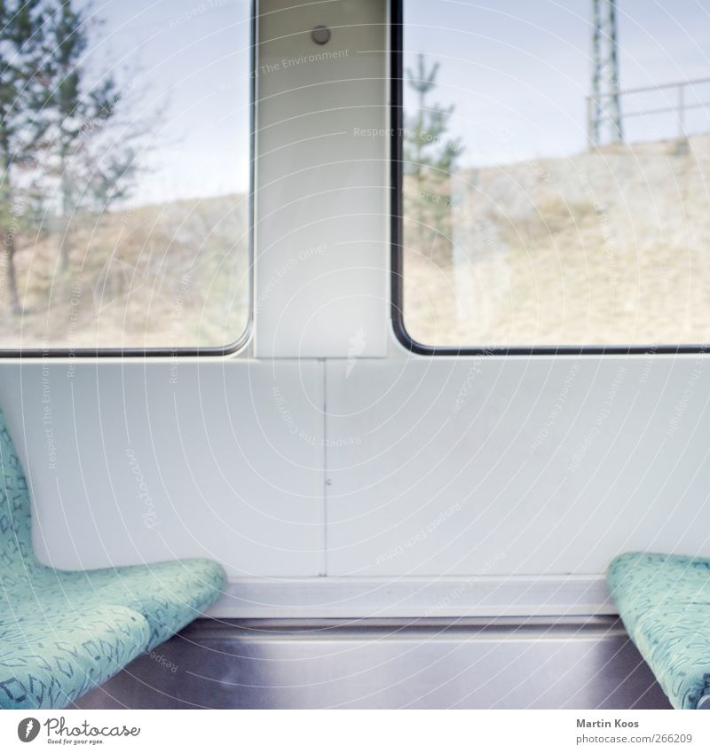 Driving Window Transport Passenger traffic Public transit Train travel Railroad Commuter trains Vacation & Travel Sit Bright Modern Colour photo Deserted