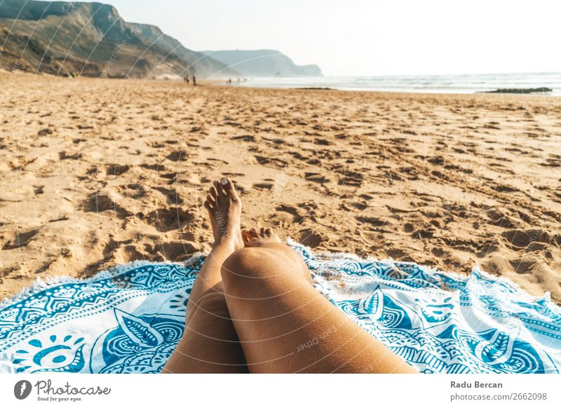 Tanned Legs Of Woman On Beach In Portugal Human being Sky Vacation & Travel Nature Youth (Young adults) Young woman Summer Blue Colour Beautiful Water White