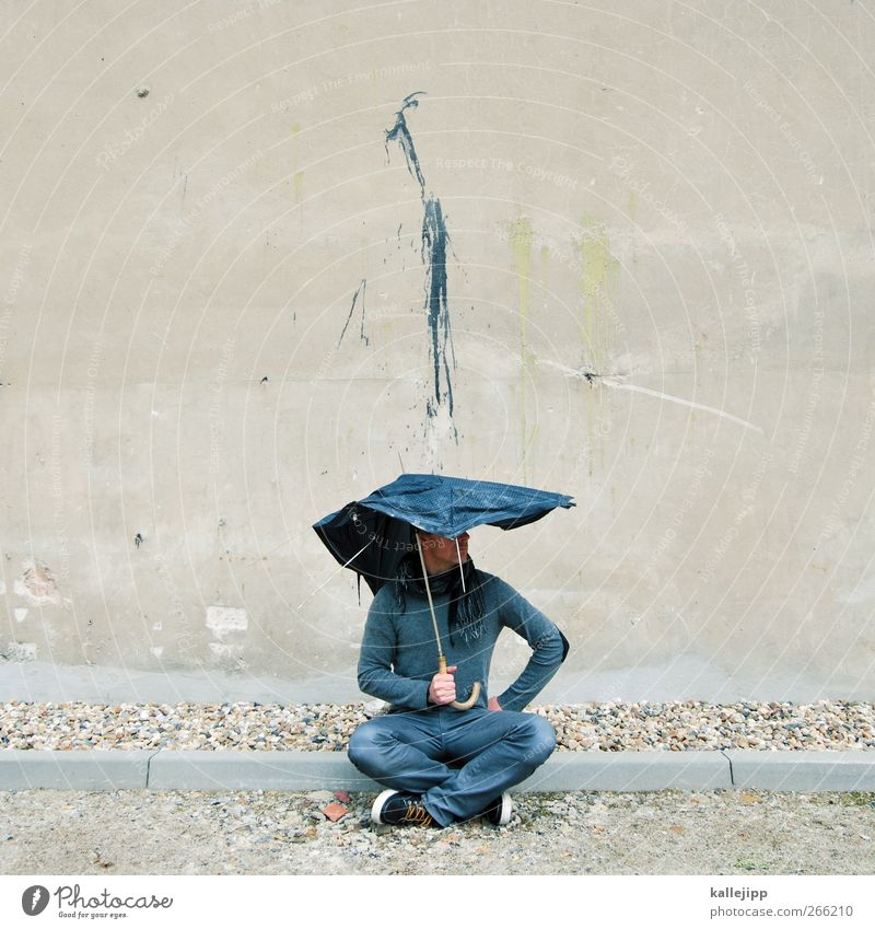 shitstorm Human being Masculine Man Adults 1 Art Rain Wall (barrier) Wall (building) Jeans Sweater Scarf Umbrella Sneakers Graffiti Crouch Dirty Dye
