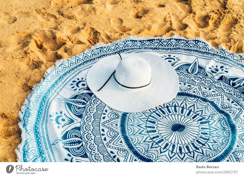 Round Beach Towel And White Hat In Summer Vacation Vantage point Sand Background picture Accessory Ocean