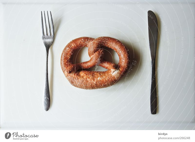 White Funny Brown Food photograph Esthetic Nutrition Simple Whimsical Silver Knives Cutlery Fork Minimalistic Pretzel