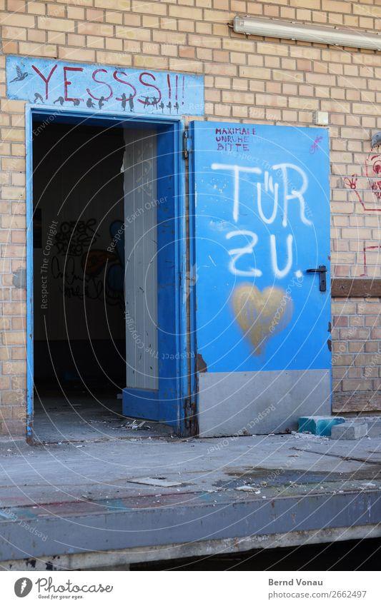 . it pulls Freiburg im Breisgau Town House (Residential Structure) Building Wall (barrier) Wall (building) Facade Door Dirty Broken Blue Heart Graffiti