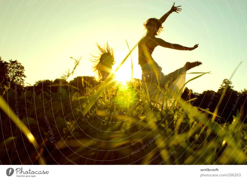 Summer at last Joy Freedom Dance Feminine Young woman Youth (Young adults) 2 Human being Grass Park Meadow Movement Laughter Jump Healthy Friendliness Happiness