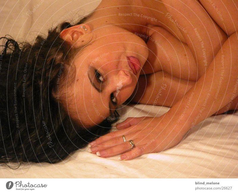 Mery Feminine Brunette Woman Head Lie