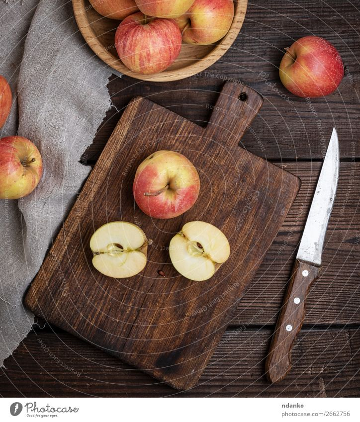 ripe red apples, chopping wooden board Fruit Apple Vegetarian diet Diet Knives Garden Table Nature Wood Old Eating Fresh Natural Juicy Brown Red agriculture Cut
