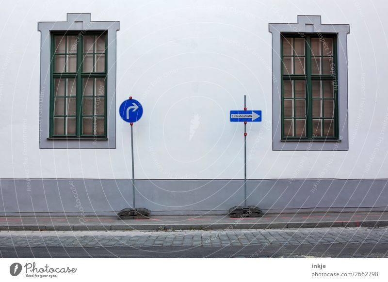 Augsburg Town Old town Deserted Wall (barrier) Wall (building) Facade Window Lattice window Traffic infrastructure Road traffic Street Road sign Sidewalk