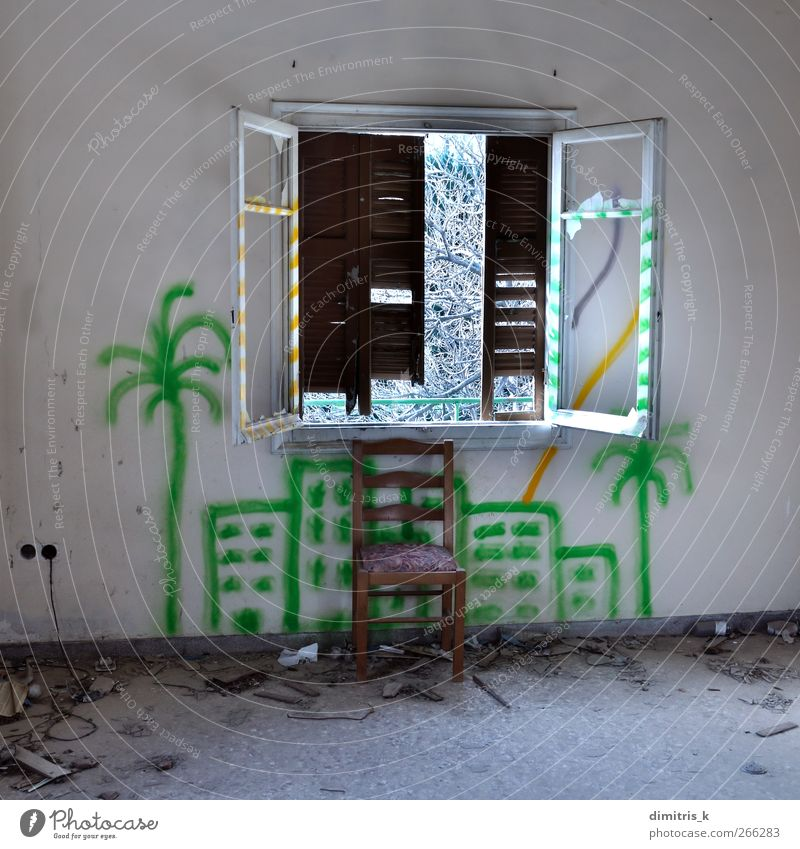 chair and broken window House (Residential Structure) Chair Tree Town Ruin Building Architecture Graffiti Old Dream Dirty Moody Loneliness Surrealism urban
