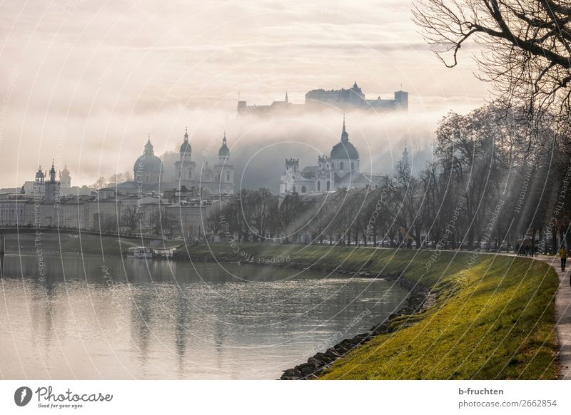 Salzburg in the fog Clouds Autumn Weather Fog Town Downtown Old town Skyline Church Dome Castle Tourist Attraction Landmark Moody Tourism Salzburg cathedrale