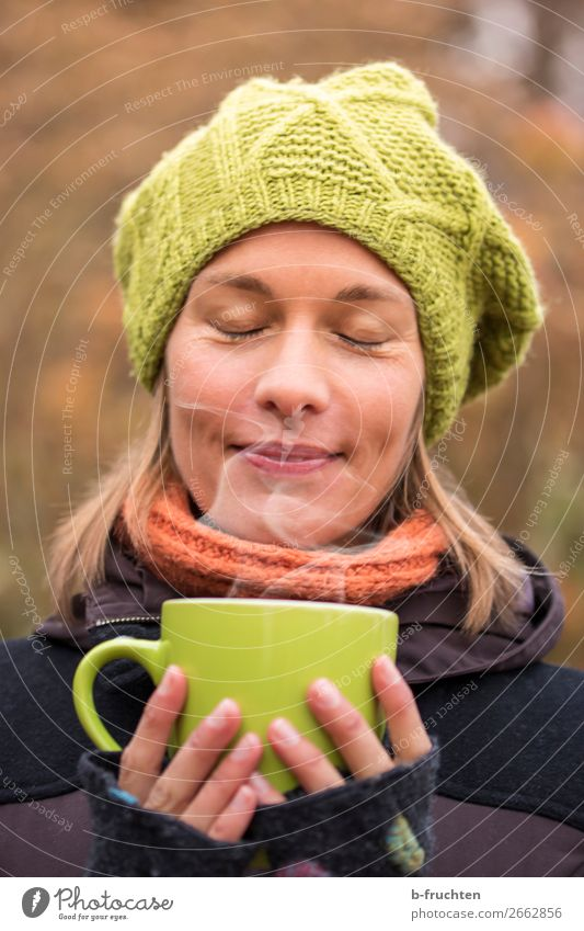 hot tea To have a coffee Beverage Drinking Hot drink Tea Mulled wine Cup Healthy Eating Harmonious Well-being Senses Relaxation Woman Adults Face Hand Fingers 1