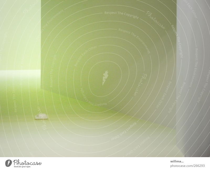 Green Wall (building) Architecture Gray Wall (barrier) Room Pastel tone Shaft of light Bright green Alarm system