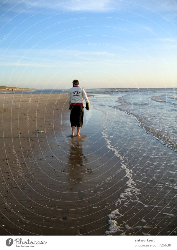 Man Beach Loneliness Sand Mussel Surf Netherlands Track-suit top