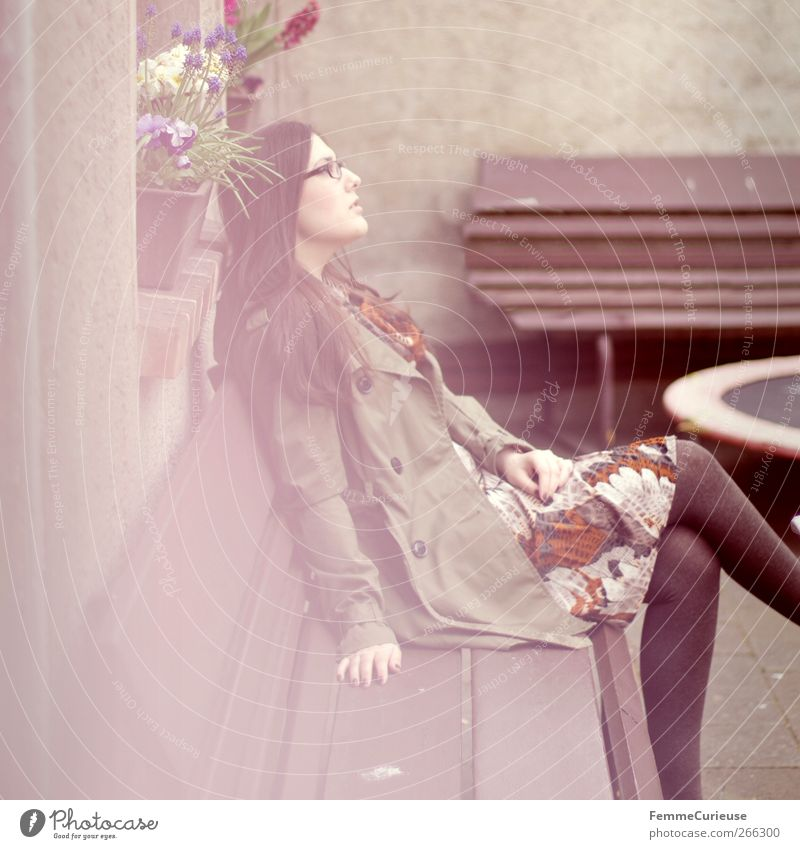 Human being Woman Youth (Young adults) Green Adults Relaxation Feminine Spring Garden Young woman Dream Horizon Sit Wait Elegant 18 - 30 years