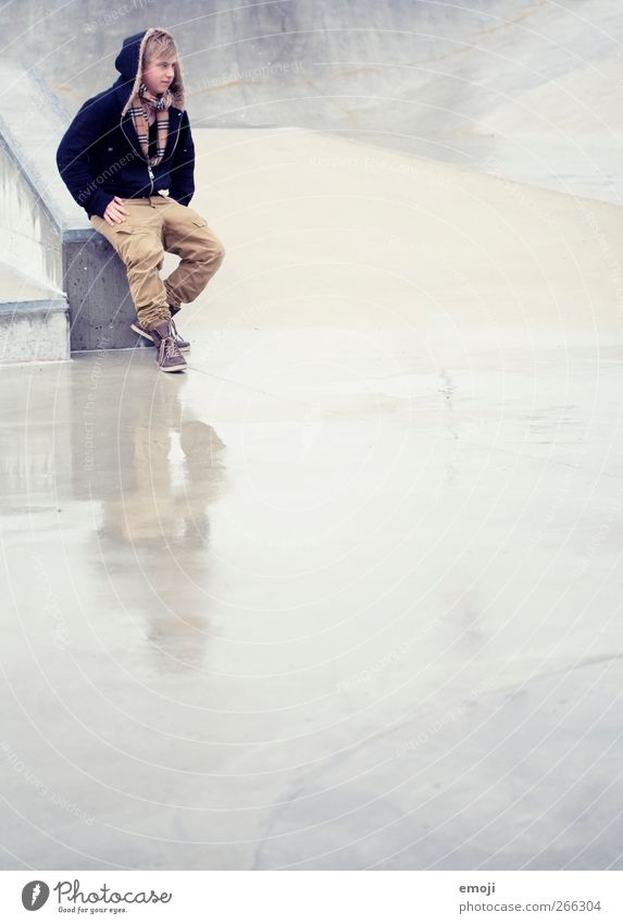 free space Masculine Young man Youth (Young adults) 1 Human being 18 - 30 years Adults Fashion Jacket Concrete Reflection Rain Colour photo Exterior shot