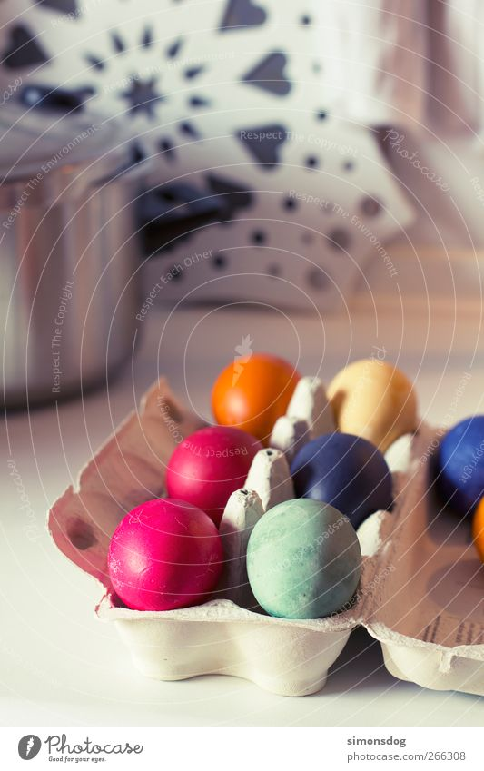 Easter eggs Food Egg Feasts & Celebrations Fresh Blue Yellow Green Pink Spring fever Anticipation Orange Eggs cardboard Packaging Dyeing Colour Multicoloured