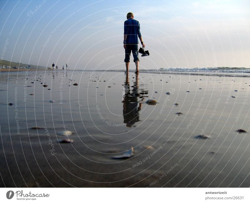 Man Sky Beach Loneliness Think Sand Chucks Mussel Surf Netherlands