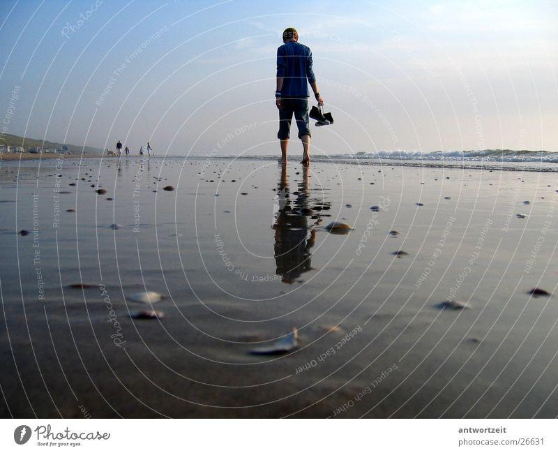 Walkin' down the beach Netherlands Beach Man Surf Mussel Loneliness Think Chucks Sand Sky