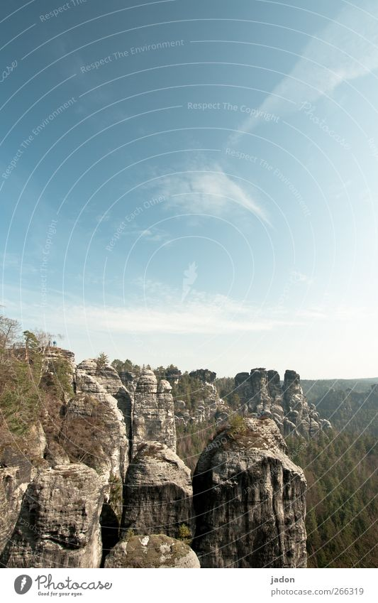 up the rock. Tourism Far-off places Freedom Mountain Landscape Sky Clouds Sunlight Rock Elbsandstone mountains Saxon Switzerland Exceptional Famousness Gigantic