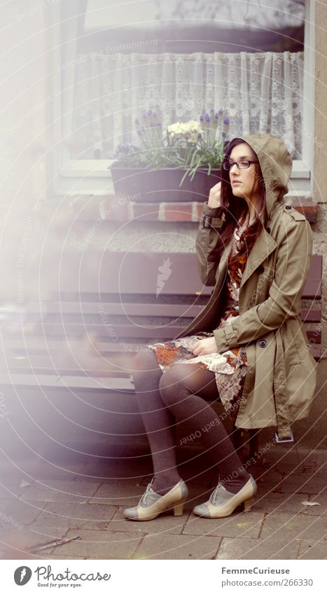 Rainy days III. Feminine Young woman Youth (Young adults) Woman Adults Legs 1 Human being Loneliness Idyll Uniqueness Garden Park bench Garden bench Brunette