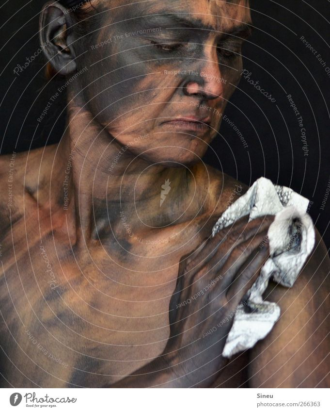 sweep week Skin Face Hand Cleaning Dirty Dark Disgust Hideous Cleanliness Pain Personal hygiene Black Bodypainting Rag Floor cloth Colour photo Subdued colour